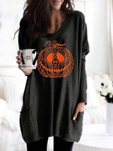 Women's Halloween Pumpkin Face Printed Pocket Long Top