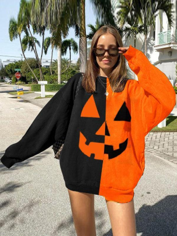 Women's Halloween series smiley face contrast casual sweatshirt