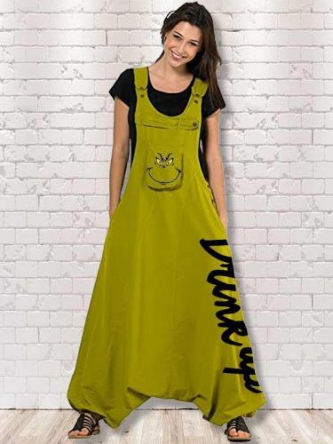 Women's Drink Up Grinch Print Jumpsuit