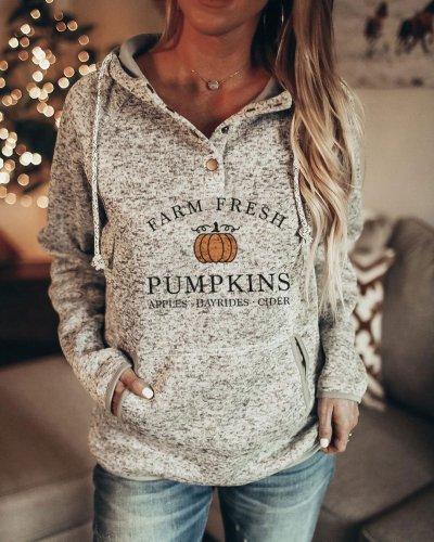 Women's Halloween Farm Fresh Pumpkins Apples Hayrides Cider Printed Long Sleeve Hoodie