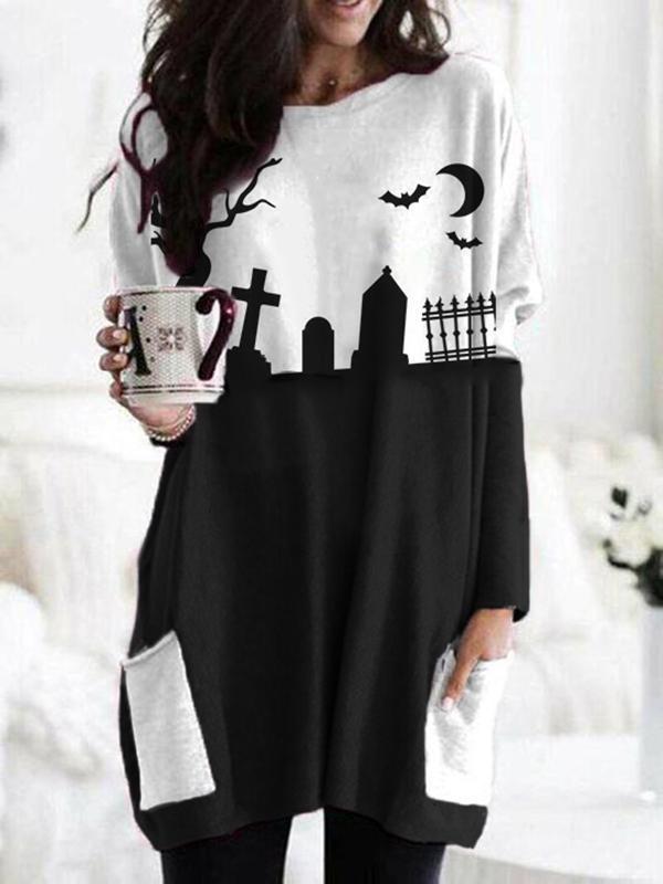 Women's casual Halloween print sweatshirt