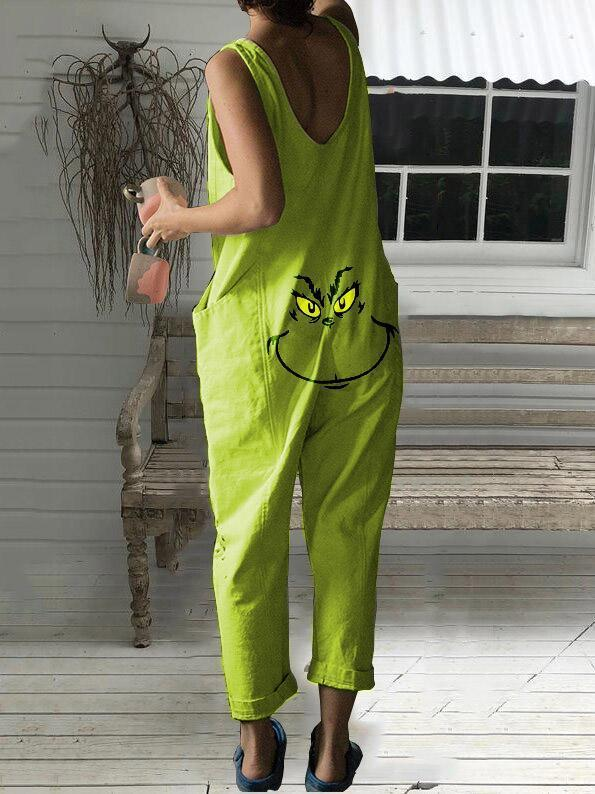 Women's Grinch Print Sleeveless Jumpsuit