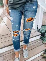 Halloween Bats Stitching Printed Casual Jeans