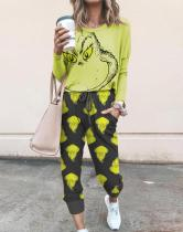 Women's The Grinch Printed Long Sleeve Suits