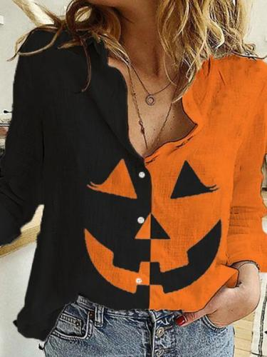 Women's Halloween Pumpkin Print Shirt