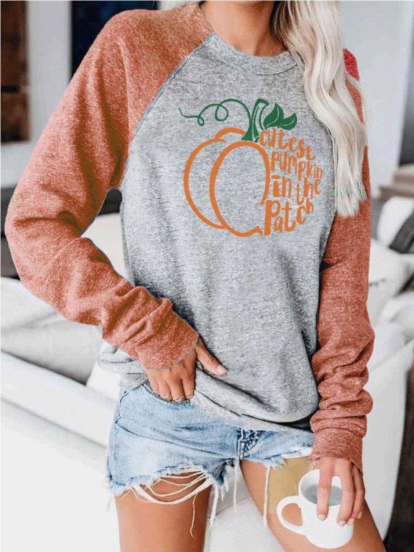 Women's CUTEST PUMPKIN IN THE PATCH Printed Sweatshirt