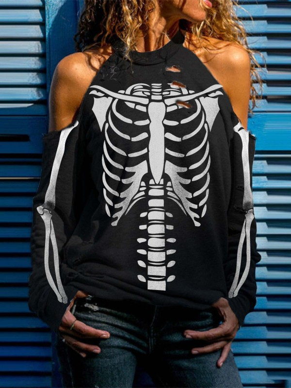 Halloween Skull Print Off-Shoulder Ripped Top