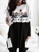 Women's Halloween fun print round neck long sleeve T-shirt
