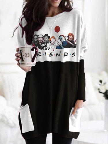 Women's Halloween fun print round neck long sleeve T-shirt