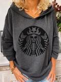 Women's casual Halloween skull print sweatshirt