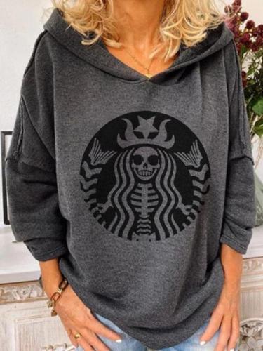 Women's casual Halloween skull print sweatshirt