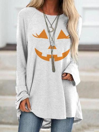 Women's Halloween Scarecrow Face  T-shirt