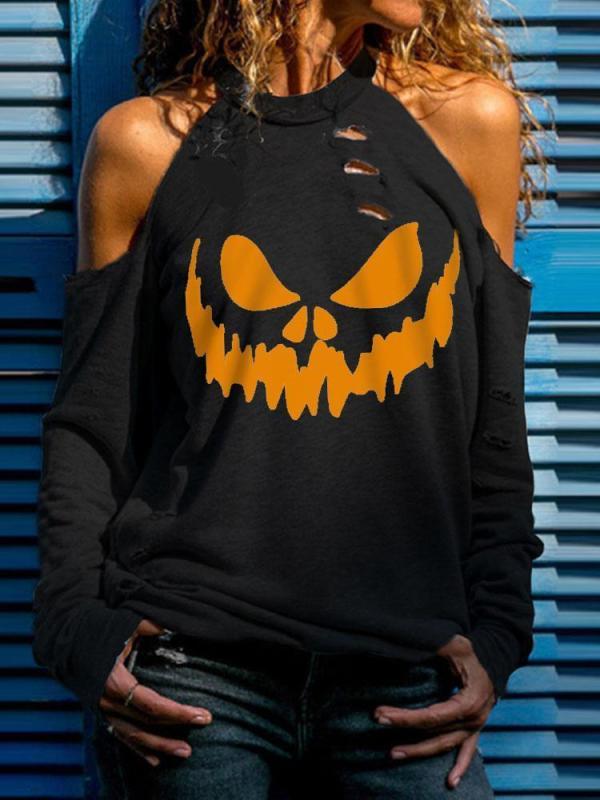 Women's Halloween Smiley Print Casual Off-Shoulder Top