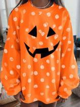 Women's Halloween Series Smiley Print Loose Casual Sweatshirt