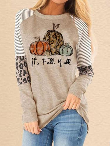 Women's Thanksgiving Pumpkin Leopard Print T-shirt