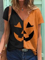 Women's Halloween Pumpkin Print T-shirt