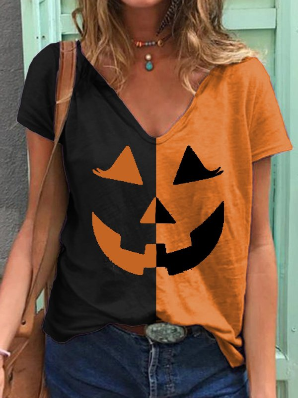 Women's Halloween Pumpkin Print T-shirt