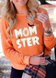 Halloween Momster Printed Long Sleeve T-shirt