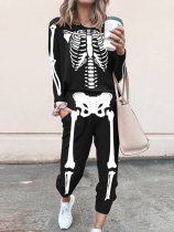 Skeleton Print Long sleeve casual suit