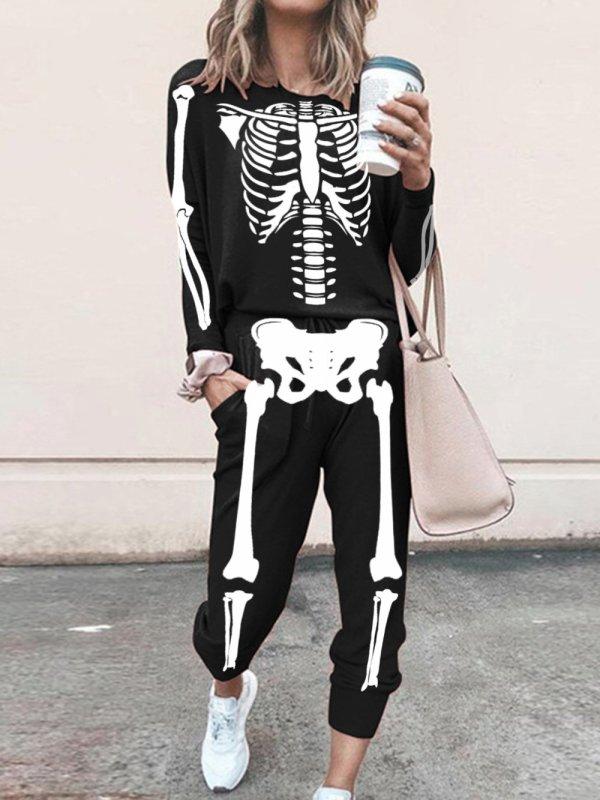 Skeleton Print Long sleeve casual suit