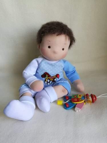 Steiner doll Waldorf Doll Boy Waldorf Baby Doll The First Doll 38 см/15 Inch Doll Textile Doll To Order Doll With Dark Hair