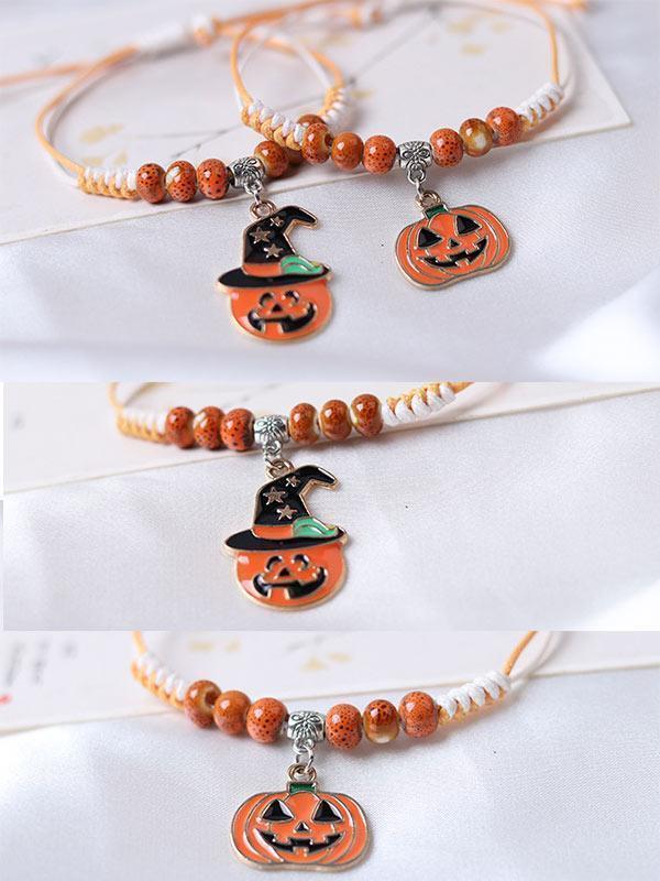 Halloween hand-woven pumpkin bracelet