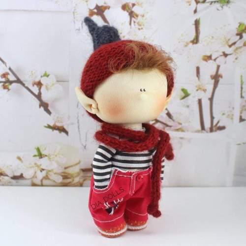 Fairytale textile doll, miniature waldorf gnome, interior toy, handmade elf, rag dol, Soft sculpture tilda, homemade art doll, ooak waldorf