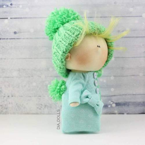 Rag doll, miniature baby doll, handmade waldorf, tiny toy, textile tilda, small pocket doll, ooak boy doll, cloth homemade russian doll,