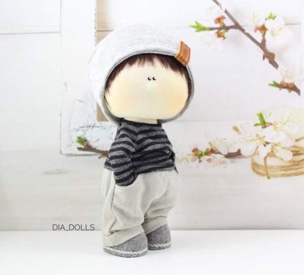 Handmade cloth doll, heirloom boy doll, boyfriend doll, textile art waldorf, collectible toy, Decoration, Cotton Doll, 6 inch tilda doll