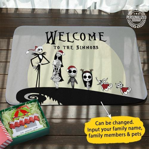 Jack Sally Xmas Personalized Doormat