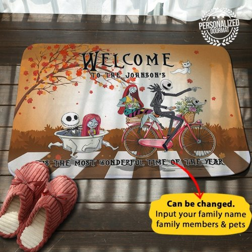 Jack Sally Family Personalized Name Doormat