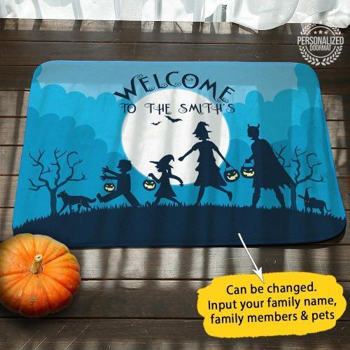 Family Halloween Personalized Doormat