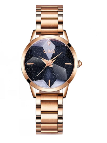 Women's WatchFull Of Star black large dial Stainless Steel strap elegant watch
