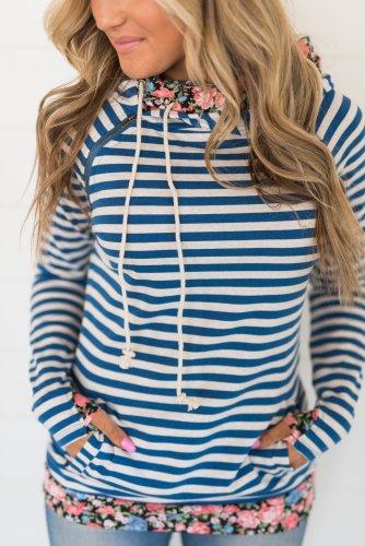 DoubleHood™ Sweatshirt - Blue Striped Floral