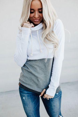 CowlNeck Sweatshirt - Colorblock Grey