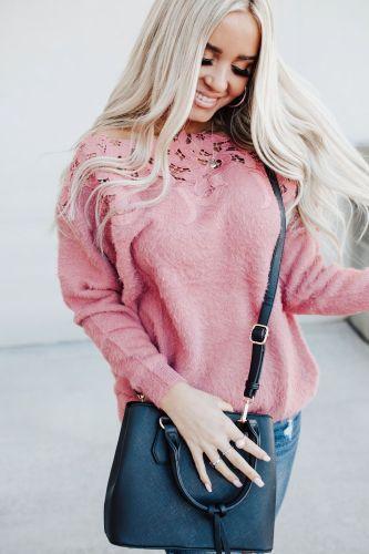 Goldie Lace Accent Sweater - Mauve