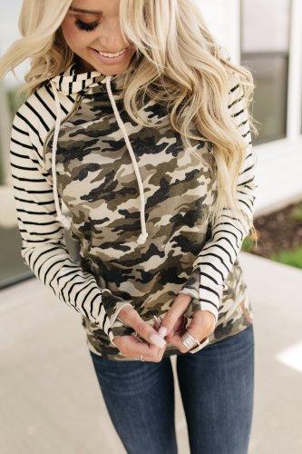 Baseball DoubleHood™ Sweatshirt - Camo & Stripe