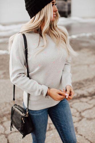 Be Mine Heart Sweater - Grey