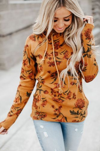 DoubleHood™ Sweatshirt - Mustard Vintage Floral