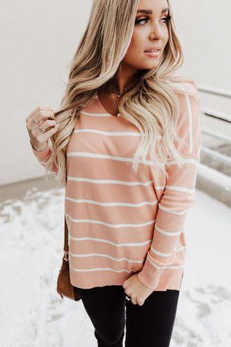Kaylee Striped Sweater - Peach