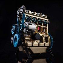 V4 Car Engine Assembly Kit Full Metal 4 Cylinder Car Engine Building Kit