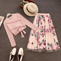 Floral Design Skirt Suits