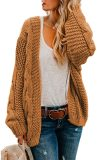 Women Open Front Long Sleeve Chunky Knit Cardigan Sweaters