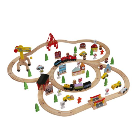 100pcs Wooden Train Set Learning Toy Kids Children Rail Lifter Fun Road Crossing Track Railway Play Multicolor