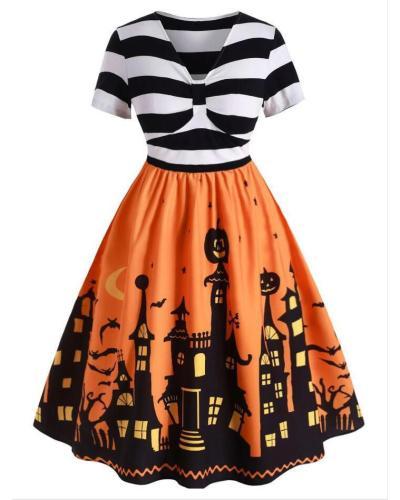 Vintage Halloween Printed Dress In Plus Sizes