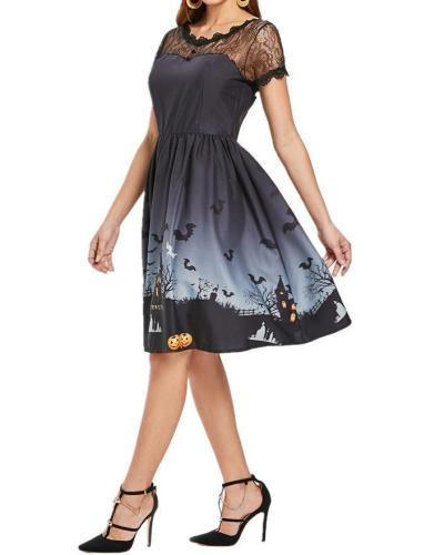 Vintage Lace Insert Halloween Dress