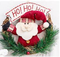 Christmas wreath Santa's Wicker Circle Christmas ornament snowman elk doll wreath door hang