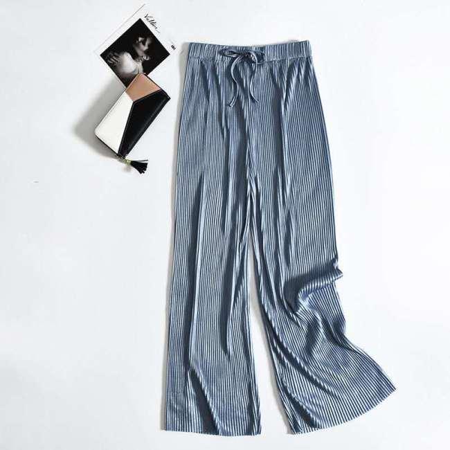 Plus Size Elastic High Waist Casual Pleated Wide Leg Women's Pants