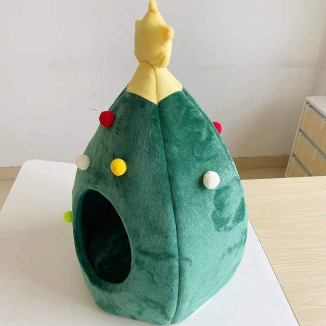 🎄Cute Christmas Tree Shaped Cat and Dog House Soft Cozy Foldable Warm Winter Cave Animals Puppy Sleeping Bed New Years Gifts🎁