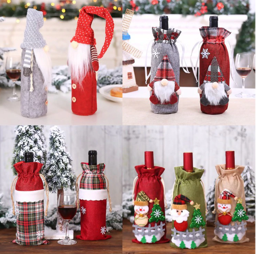 🎁FENGRISE Santa Claus Wine Bottle Cover Christmas Decorations For Home 2020 Christmas Stocking Gift Navidad New Year's Decor 2021